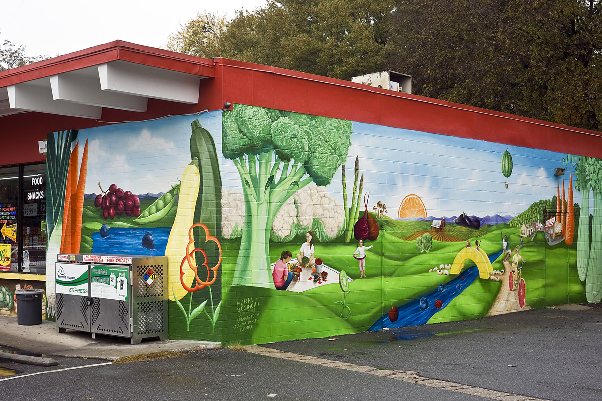 Concord, NC. Blowing Rock Artist Brenda Councill completed the mural on the Center City Maxx Grocery at the corner of Spring Street and Cabarrus Avenue in Concord on Oct. 29. The Cabarrus Health Alliance hired Councill to paint the mural as part of the R.E.A.C.H. program which brings healthy foods to corner stores in Cabarrus county. © 2015 Marty Price Photography-Complete copyright release to Brenda Councill for her use.