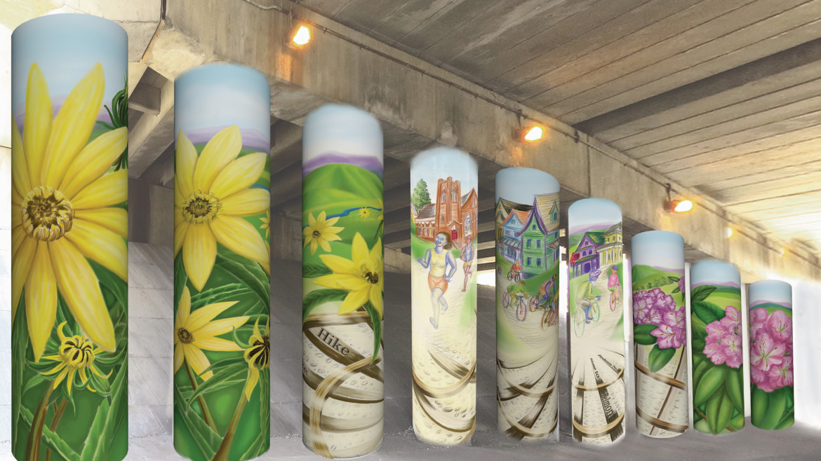 Color Rendering for the Interstate 81 Murals for the City Of Roanoke . WORK IN PROGRESS